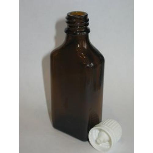 Бутылочка с крышкой и капельницей плоская 50 мл